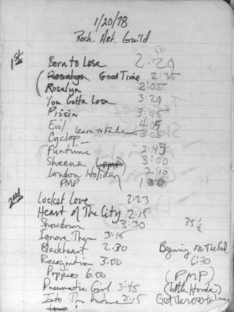 Rochester Art Guild 1978 Set List