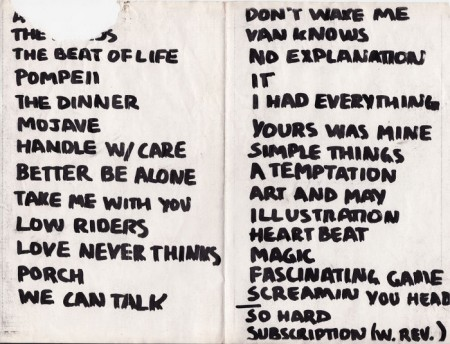 Personal Effects Set list from 1982