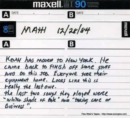 New Math's Last Gig - 12-28-1984
