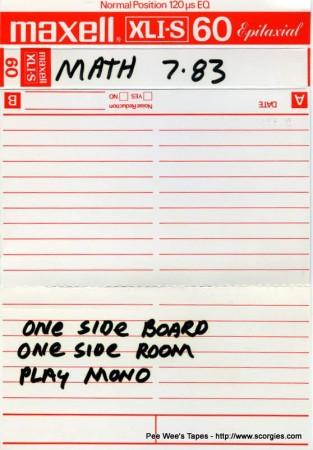 New Math at Scorgies from 7-83